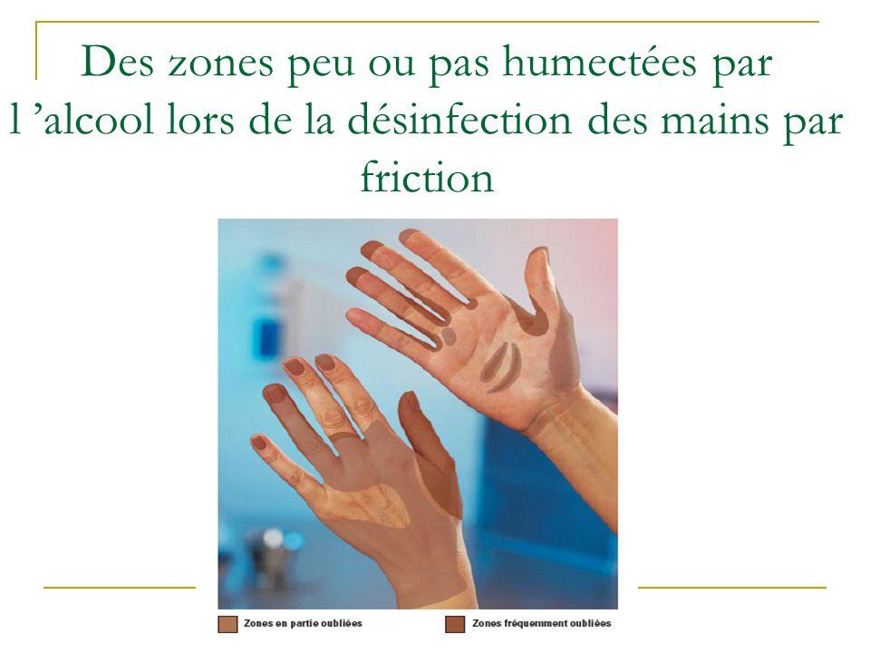 Des zones peu ou pas humectées par l 'alcool lors de la désinfection des mains par friction