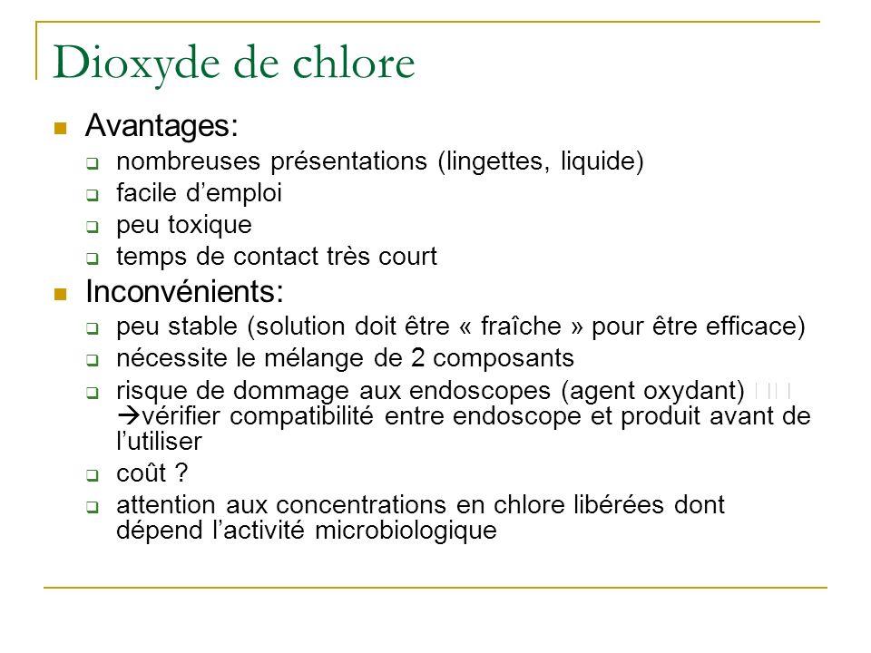 Dioxyde de chlore Avantages: Inconvénients: