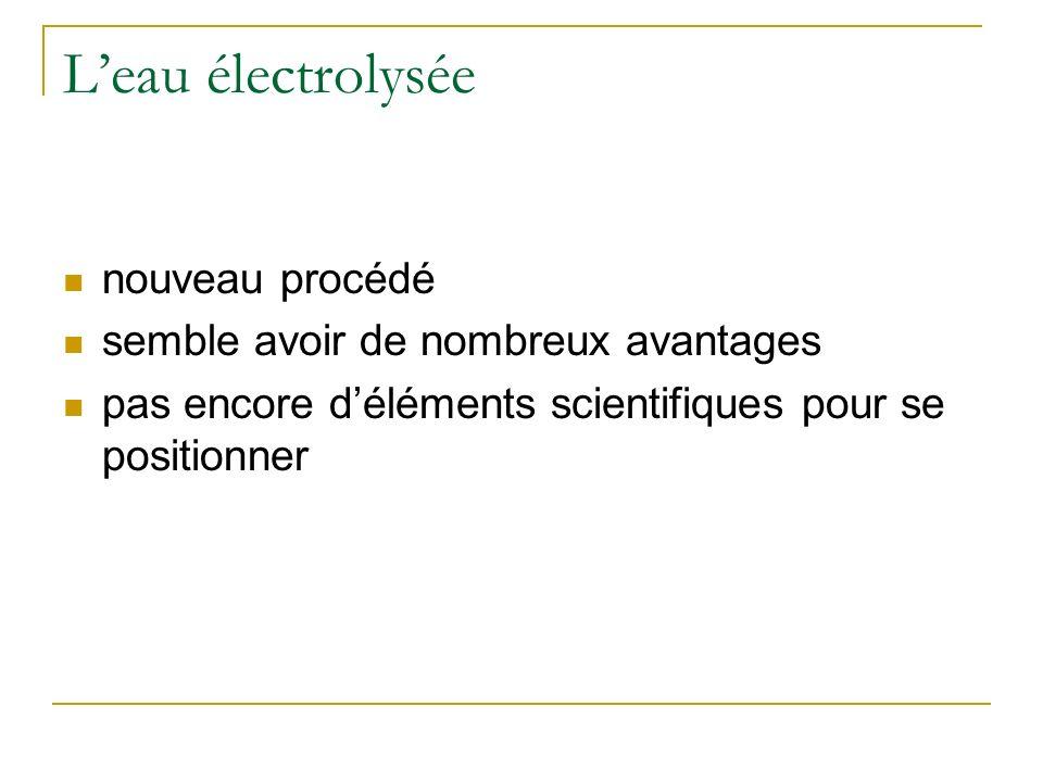 L'eau électrolysée nouveau procédé semble avoir de nombreux avantages