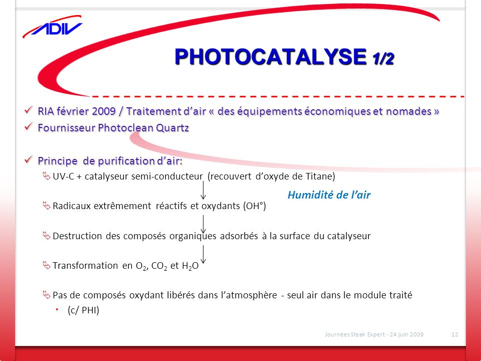 PHOTOCATALYSE 1/2 RIA février 2009 / Traitement d'air « des équipements économiques et nomades » Fournisseur Photoclean Quartz.