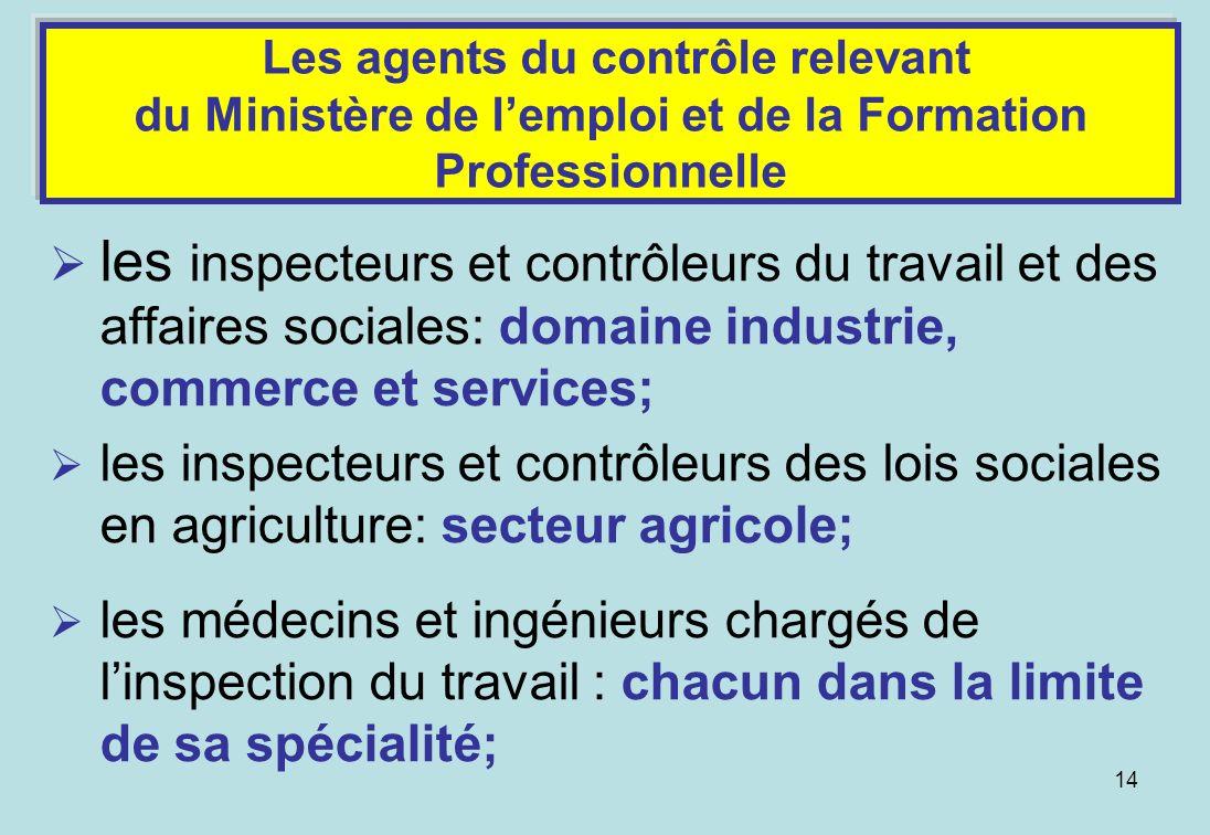 Les agents du contrôle relevant du Ministère de l'emploi et de la Formation Professionnelle