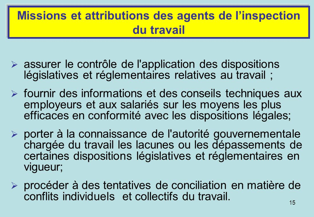 Missions et attributions des agents de l'inspection du travail