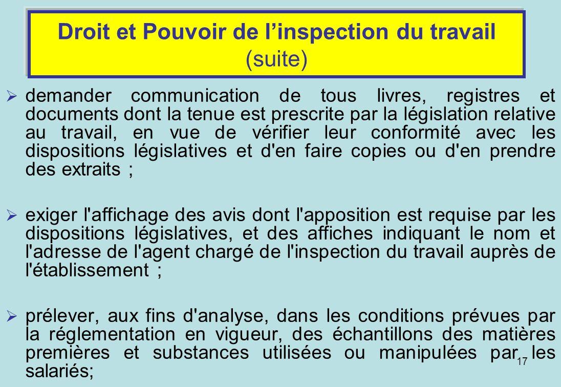 Droit et Pouvoir de l'inspection du travail (suite)
