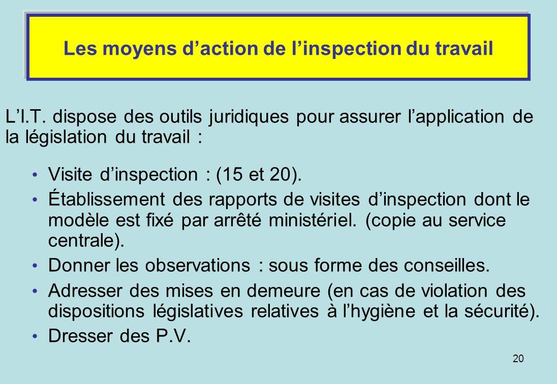 Les moyens d'action de l'inspection du travail