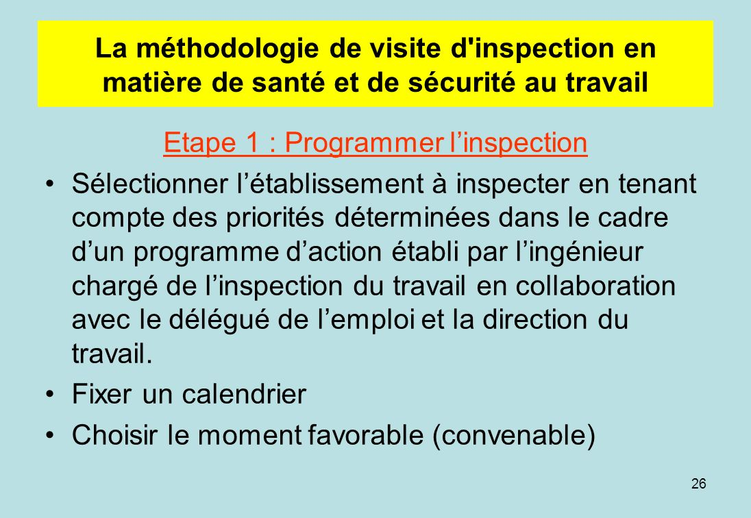 Etape 1 : Programmer l'inspection