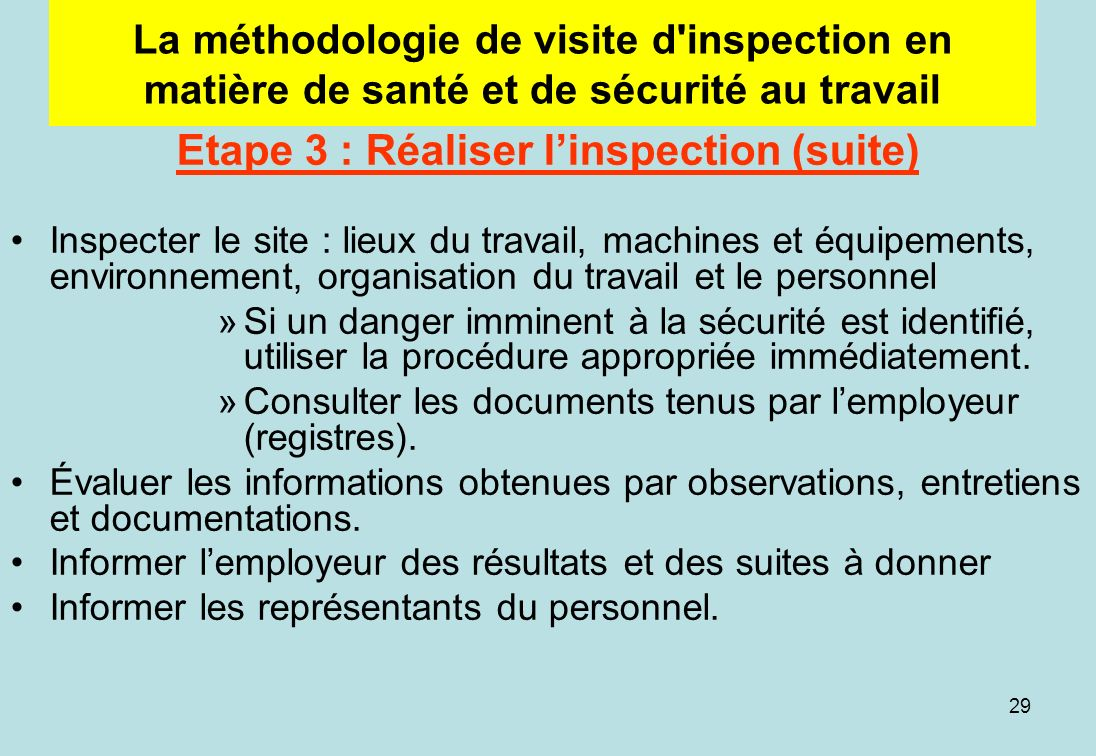 Etape 3 : Réaliser l'inspection (suite)