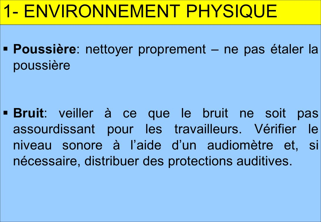 1- ENVIRONNEMENT PHYSIQUE