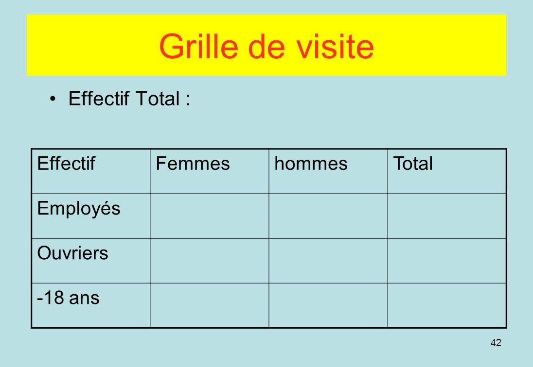 Grille de visite Effectif Total : Effectif Femmes hommes Total