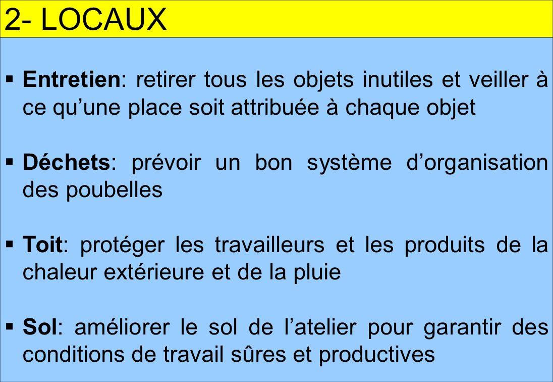 2- LOCAUX Entretien: retirer tous les objets inutiles et veiller à ce qu'une place soit attribuée à chaque objet.