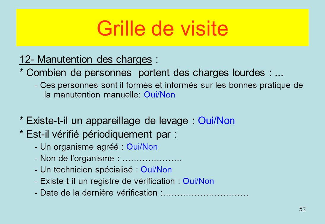 Grille de visite 12- Manutention des charges :