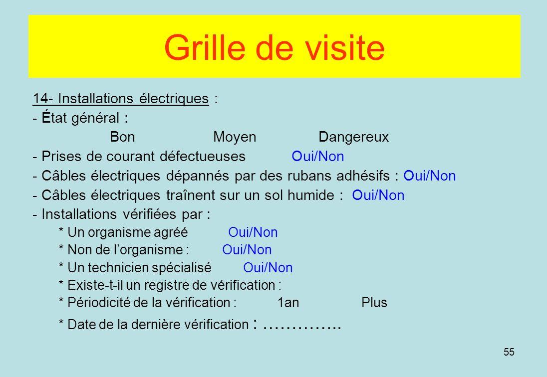 Grille de visite 14- Installations électriques : - État général :