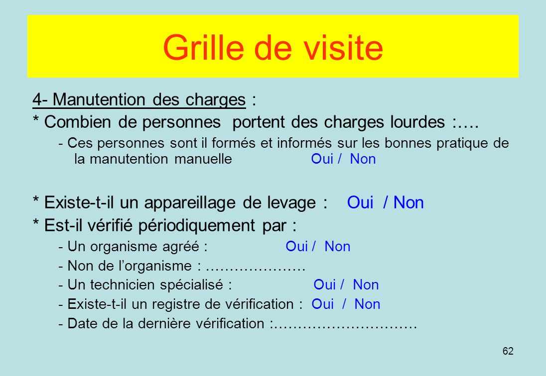 Grille de visite 4- Manutention des charges :
