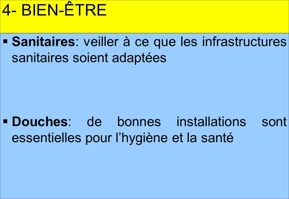 4- BIEN-ÊTRE Sanitaires: veiller à ce que les infrastructures sanitaires soient adaptées.