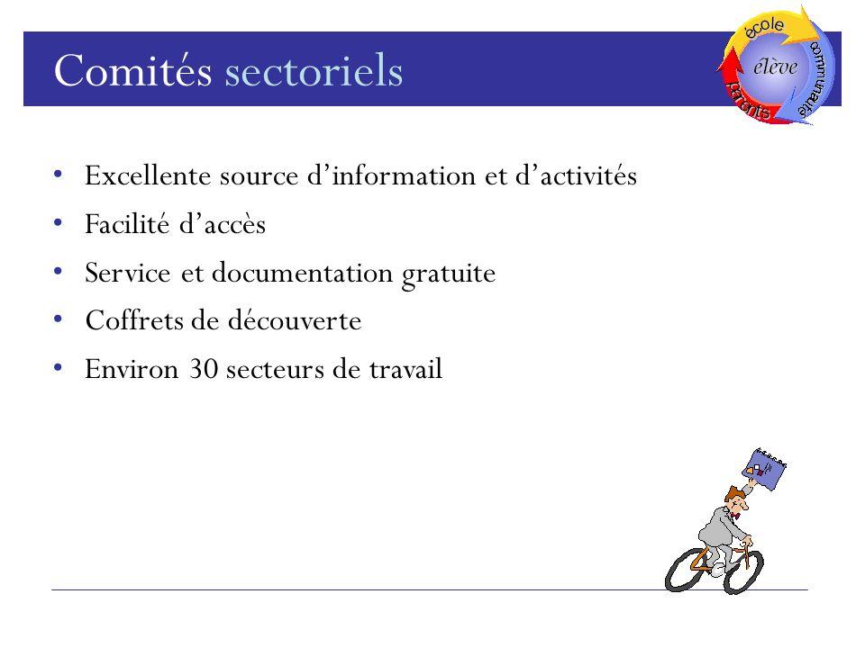 Comités sectoriels Excellente source d'information et d'activités