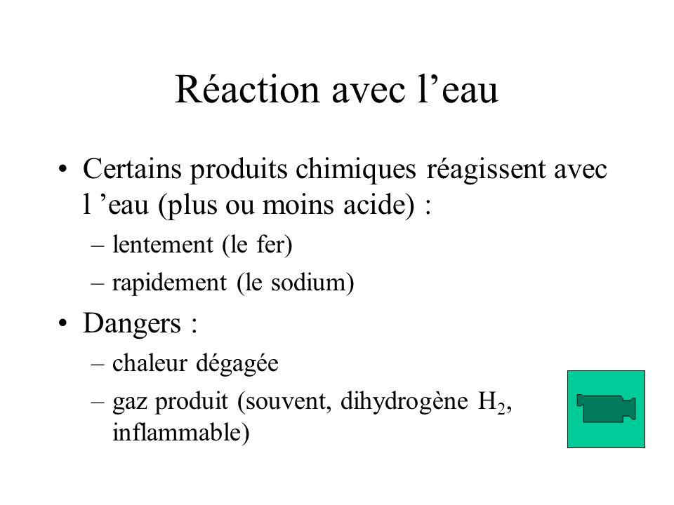 Réaction avec l'eau Certains produits chimiques réagissent avec l 'eau (plus ou moins acide) : lentement (le fer)