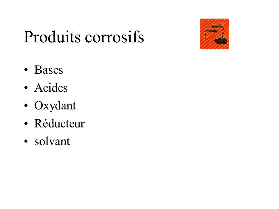 Produits corrosifs Bases Acides Oxydant Réducteur solvant