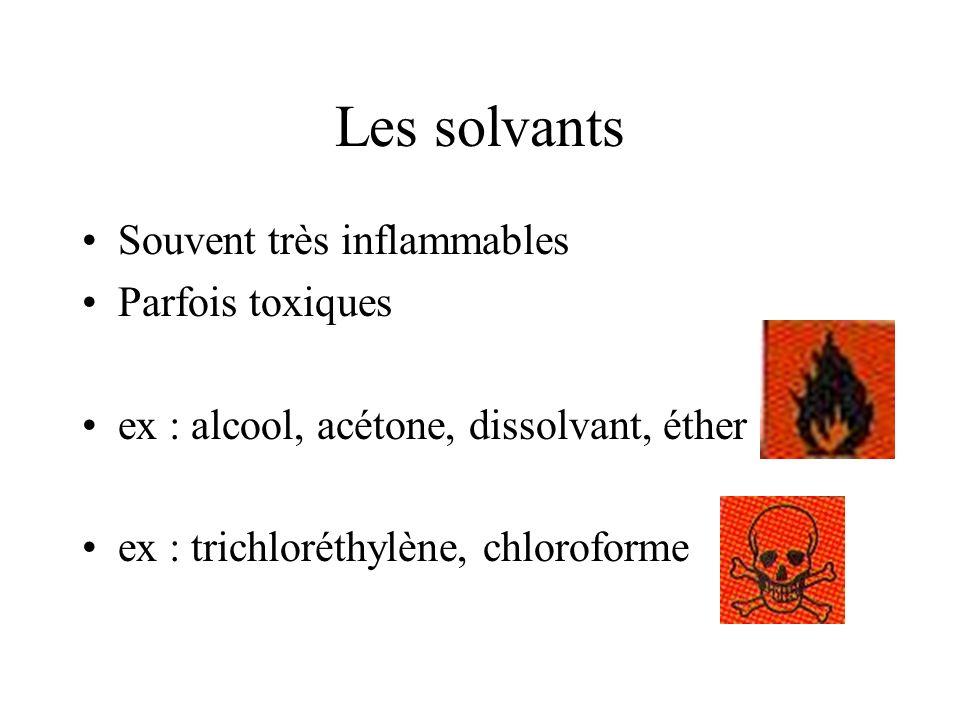 Les solvants Souvent très inflammables Parfois toxiques