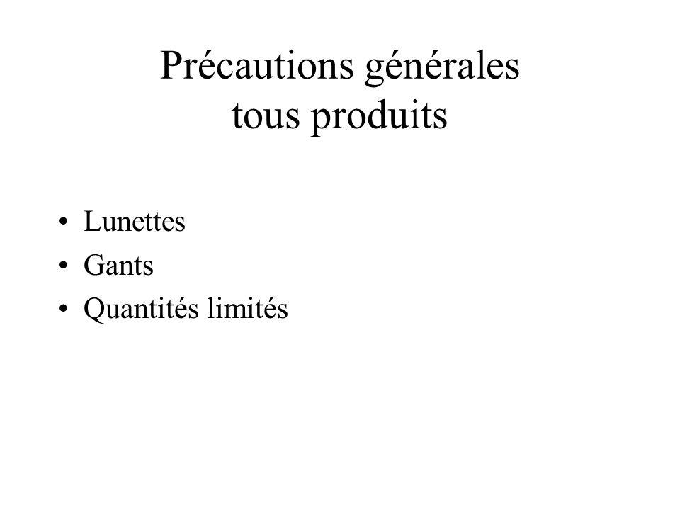 Précautions générales tous produits