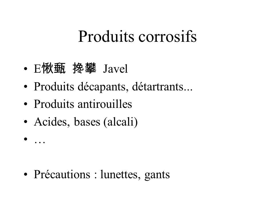 Produits corrosifs E愀甀 搀攀 Javel Produits décapants, détartrants...