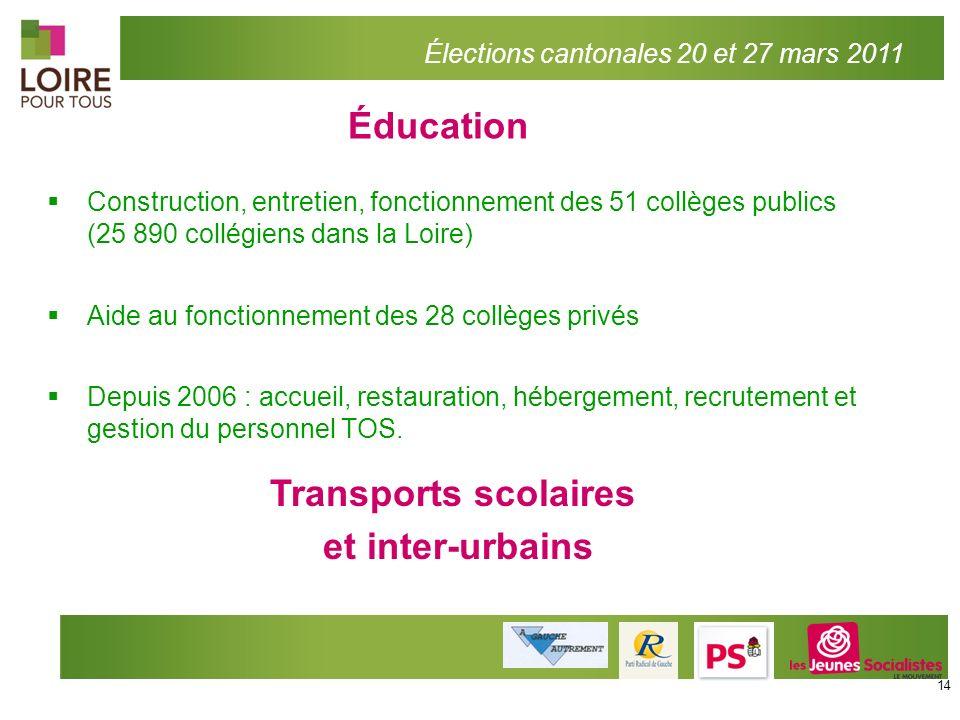 Éducation Transports scolaires et inter-urbains