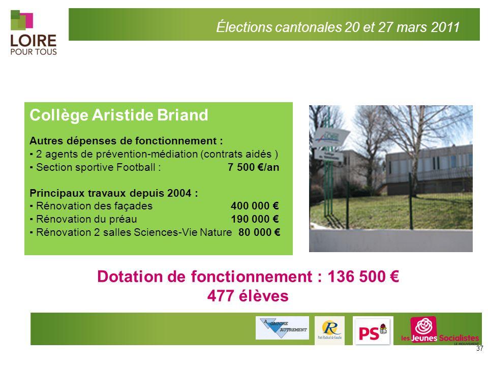 Dotation de fonctionnement : 136 500 €