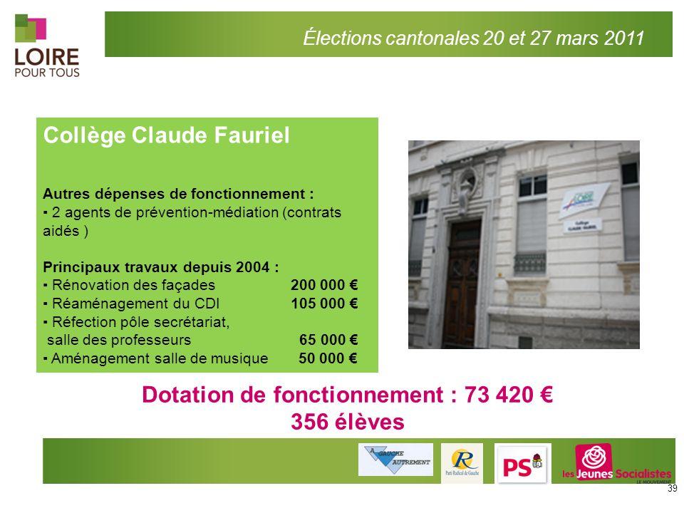 Dotation de fonctionnement : 73 420 €
