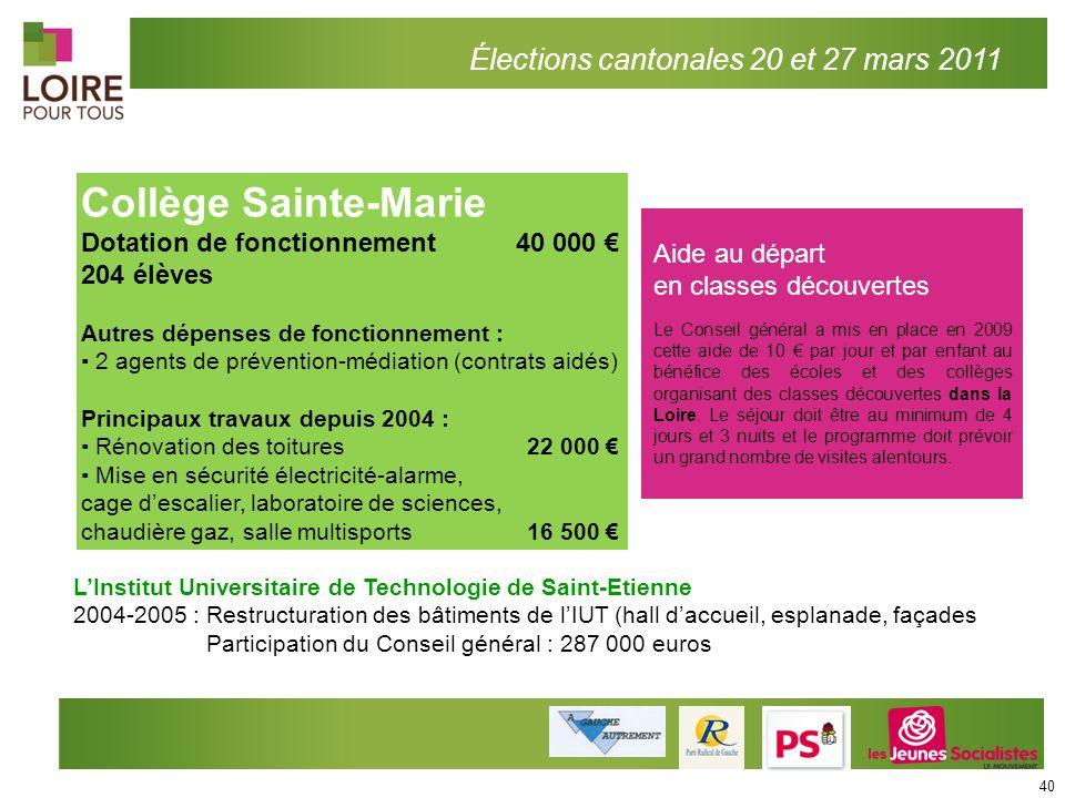 Collège Sainte-Marie Élections cantonales 20 et 27 mars 2011
