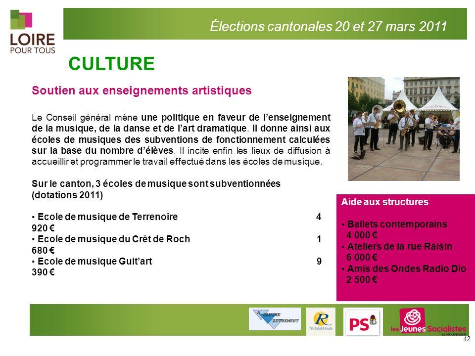 CULTURE Élections cantonales 20 et 27 mars 2011