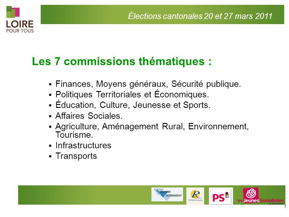 Les 7 commissions thématiques :