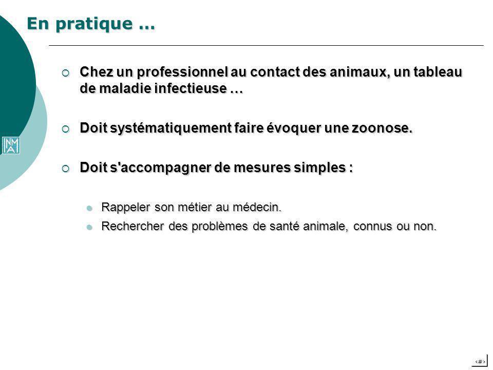 En pratique … Chez un professionnel au contact des animaux, un tableau de maladie infectieuse … Doit systématiquement faire évoquer une zoonose.