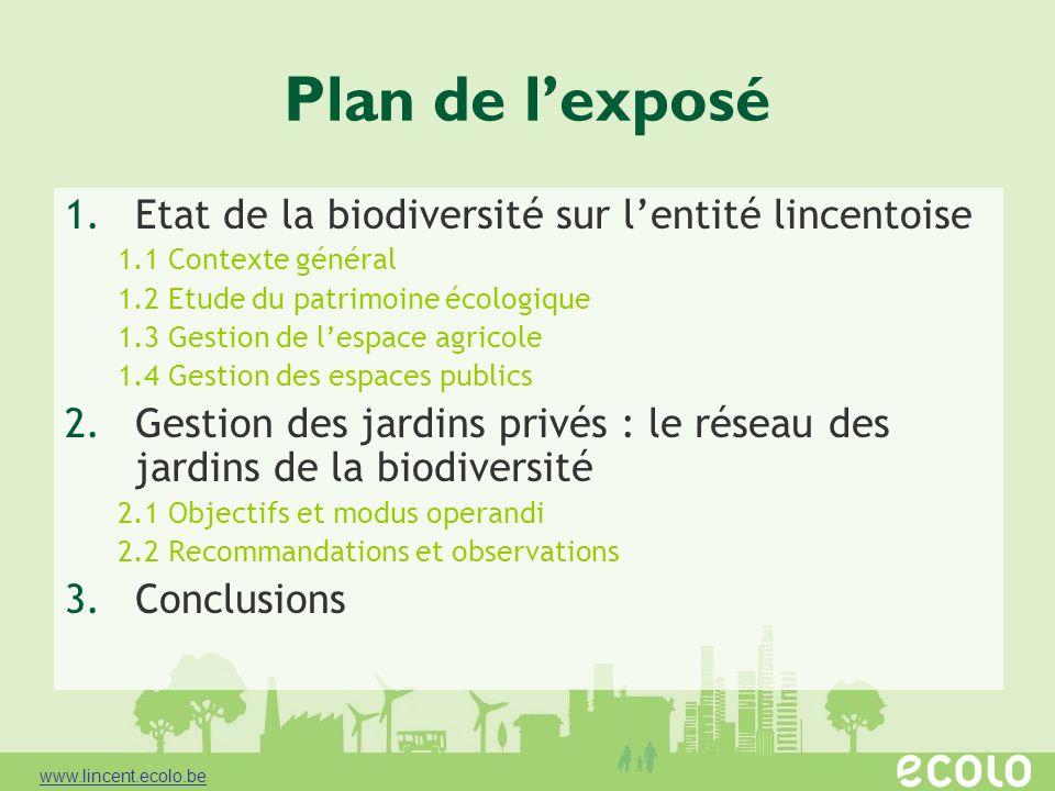 Plan de l'exposé Etat de la biodiversité sur l'entité lincentoise