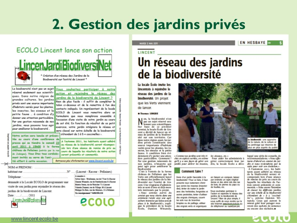 2. Gestion des jardins privés