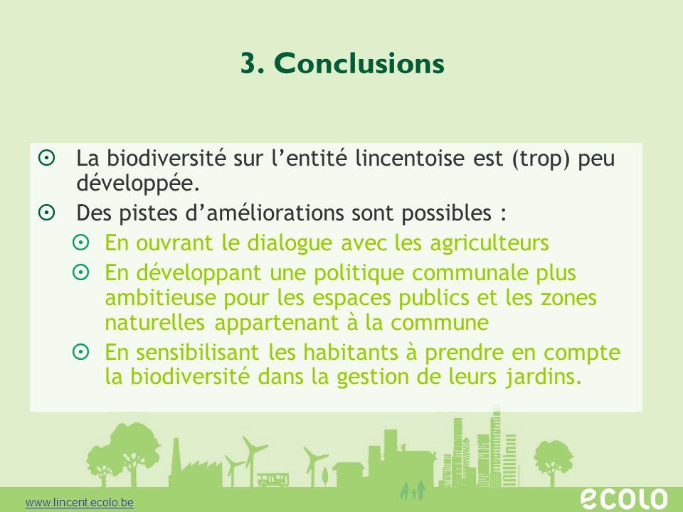 3. ConclusionsLa biodiversité sur l'entité lincentoise est (trop) peu développée. Des pistes d'améliorations sont possibles :