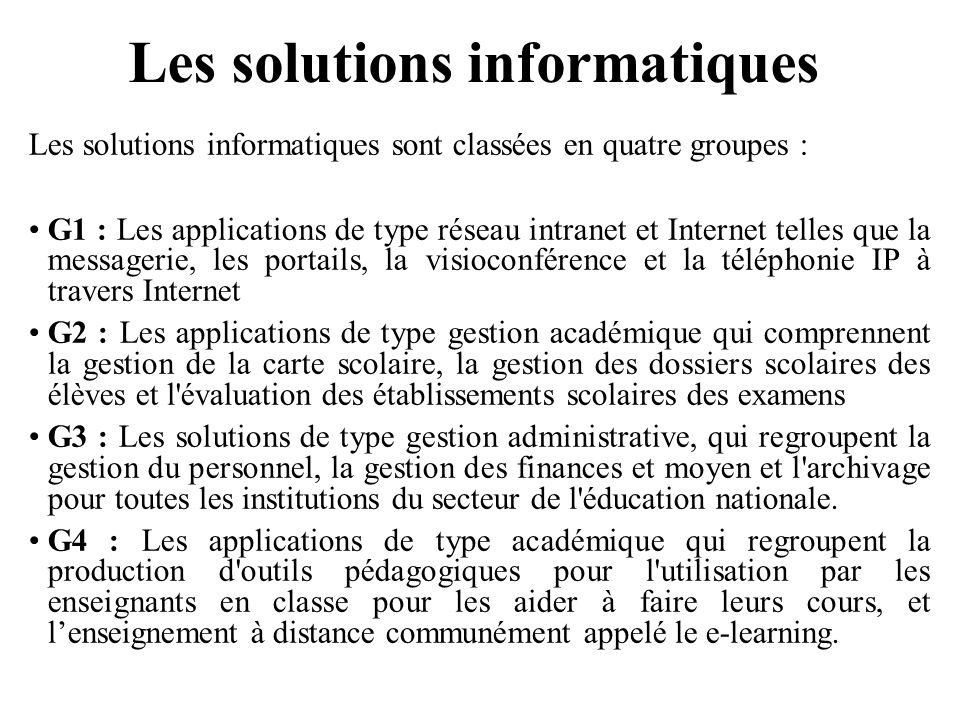 Les solutions informatiques
