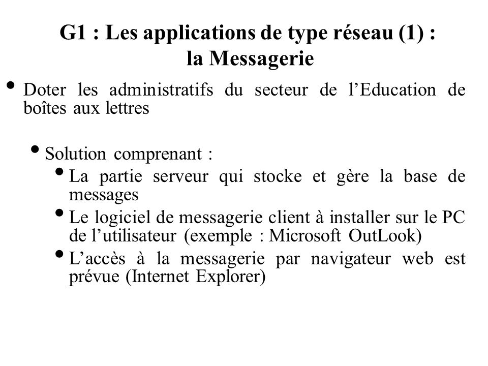 G1 : Les applications de type réseau (1) : la Messagerie