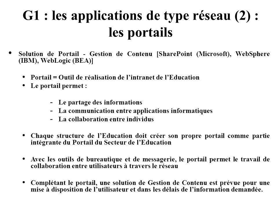 G1 : les applications de type réseau (2) : les portails