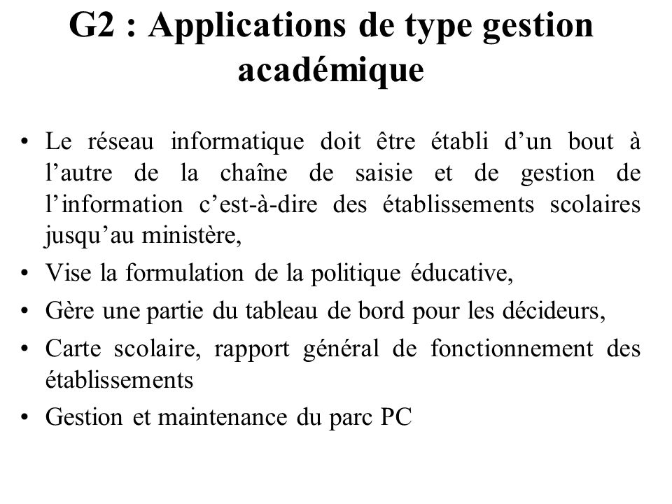 G2 : Applications de type gestion académique