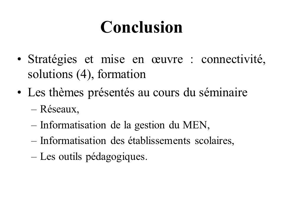 Conclusion Stratégies et mise en œuvre : connectivité, solutions (4), formation. Les thèmes présentés au cours du séminaire.