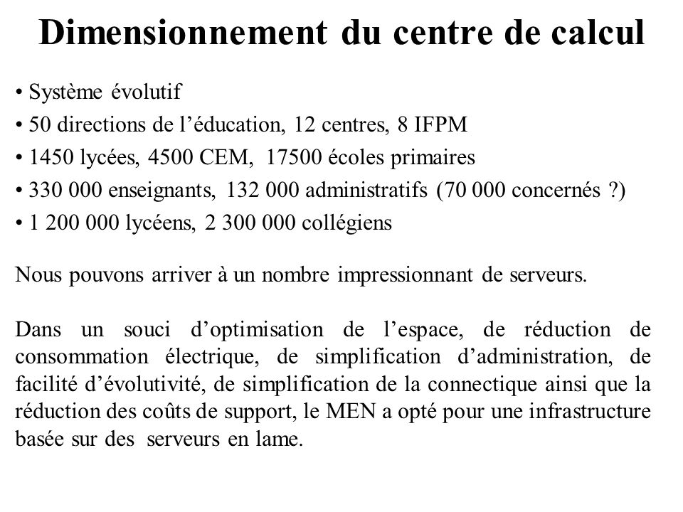 Dimensionnement du centre de calcul