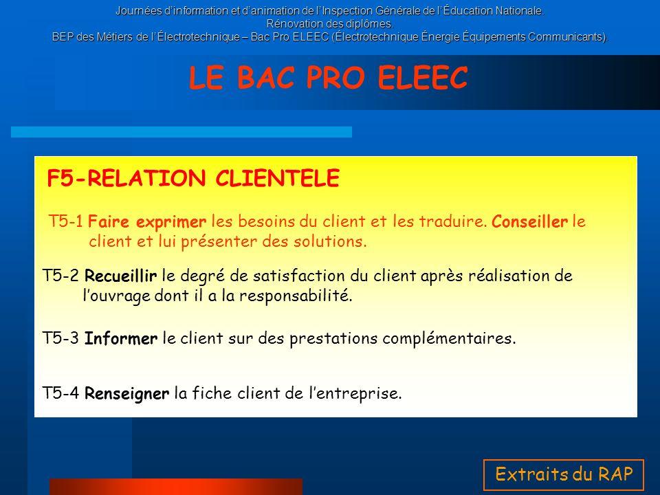 LE BAC PRO ELEEC F5-RELATION CLIENTELE Extraits du RAP