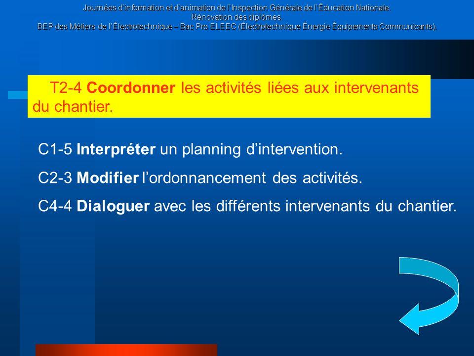 T2-4 Coordonner les activités liées aux intervenants du chantier.
