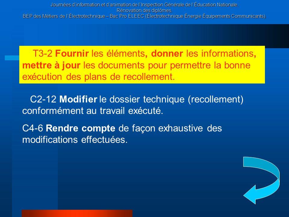 T3-2 Fournir les éléments, donner les informations, mettre à jour les documents pour permettre la bonne exécution des plans de recollement.
