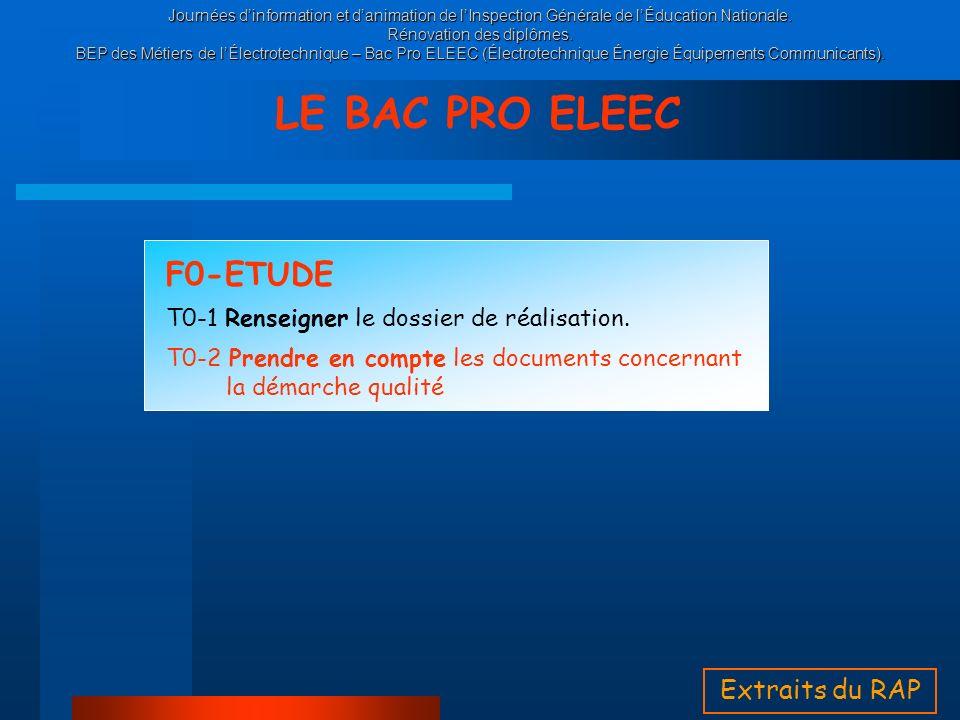 LE BAC PRO ELEEC F0-ETUDE Extraits du RAP