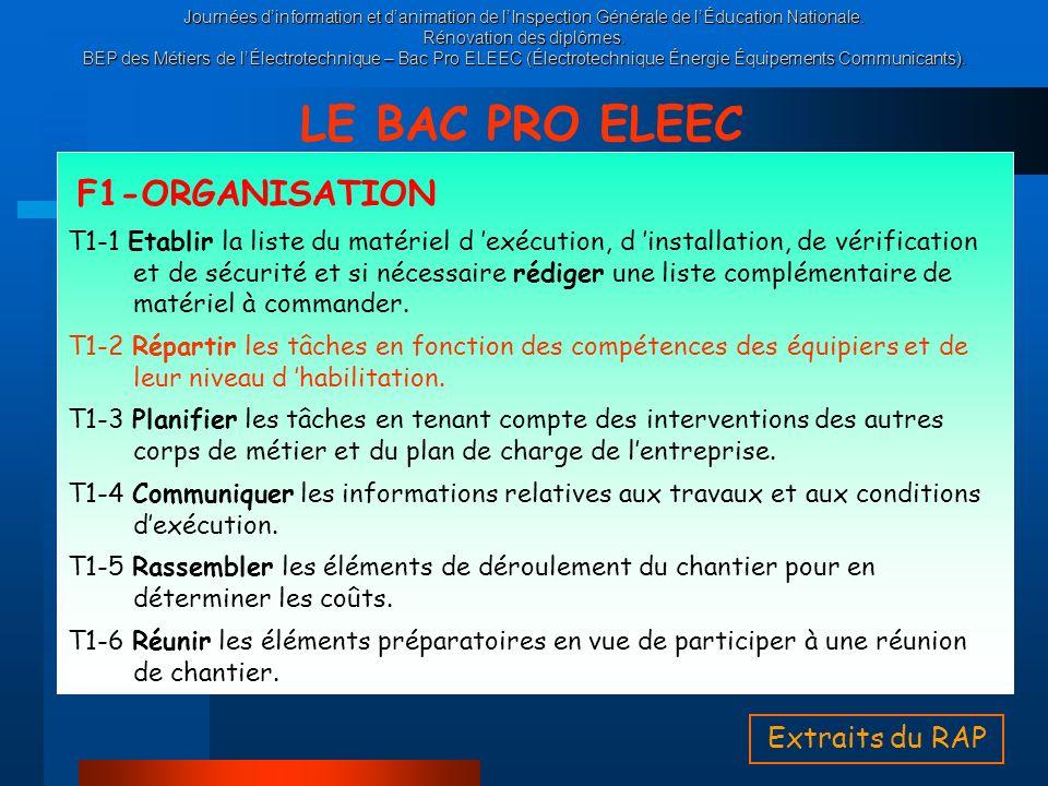 LE BAC PRO ELEEC F1-ORGANISATION Extraits du RAP