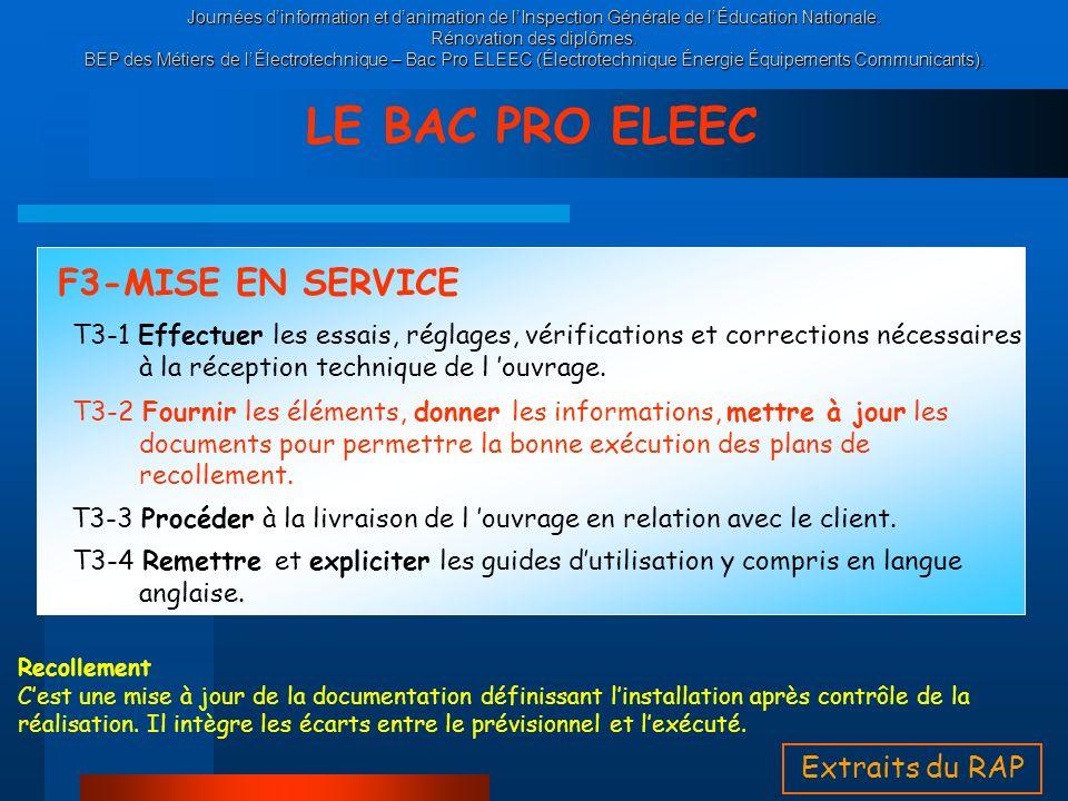 LE BAC PRO ELEEC F3-MISE EN SERVICE Extraits du RAP