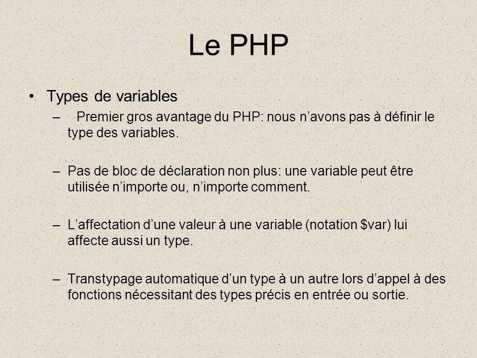 Le PHP Types de variables