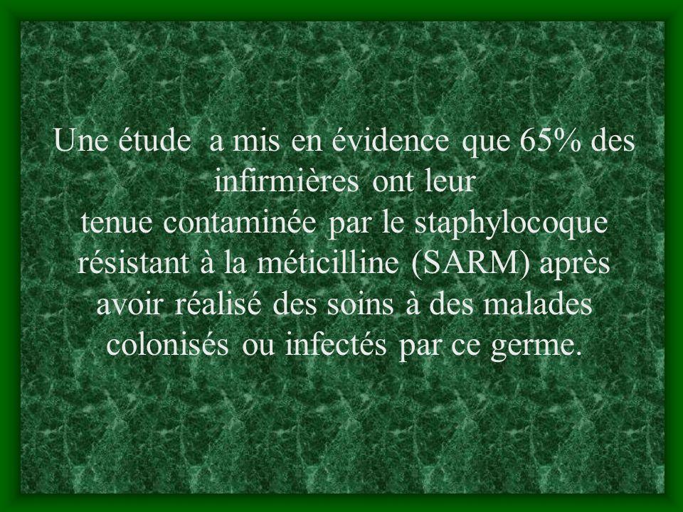 Une étude a mis en évidence que 65% des infirmières ont leur tenue contaminée par le staphylocoque résistant à la méticilline (SARM) après avoir réalisé des soins à des malades colonisés ou infectés par ce germe.