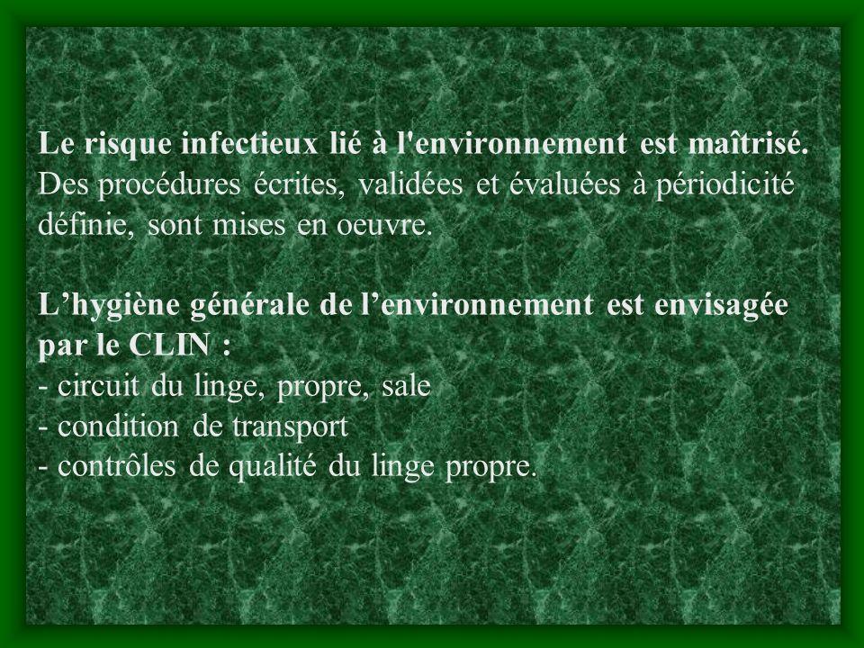 Le risque infectieux lié à l environnement est maîtrisé