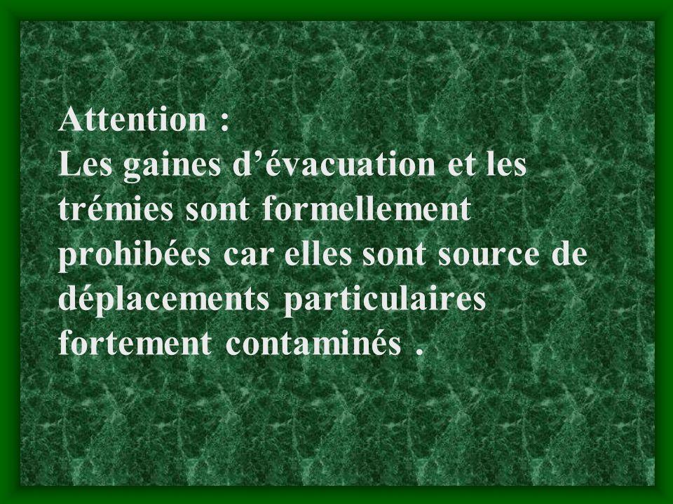 Attention : Les gaines d'évacuation et les trémies sont formellement prohibées car elles sont source de déplacements particulaires fortement contaminés .