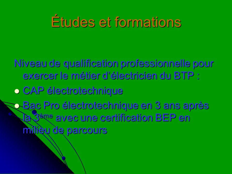 Études et formations Niveau de qualification professionnelle pour exercer le métier d'électricien du BTP :